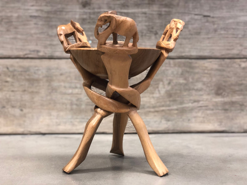 Wood bowl with stand - elephant