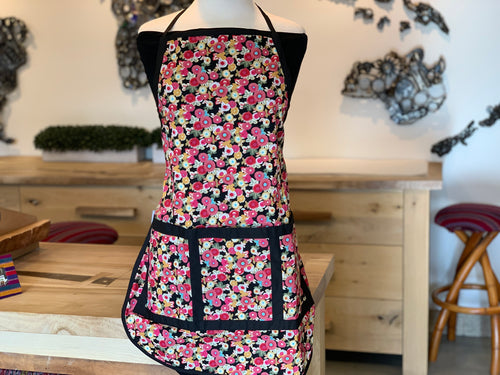 Black Tiny Flower Apron