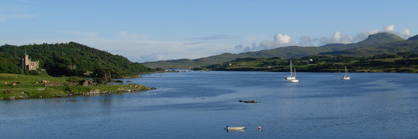 Loch Dunvegan with castle and MacLeod's Tables