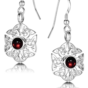 Celtic Knotwork Birthstone Earrings - January (Garnet)