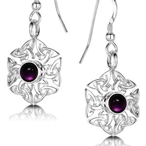 Celtic Knotwork Birthstone Earrings - February (Amethyst)