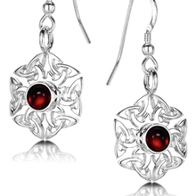 Celtic Knotwork Birthstone Earrings - July (Carnelian)