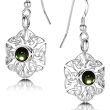 Celtic Knotwork Birthstone Earrings - August (Peridot)