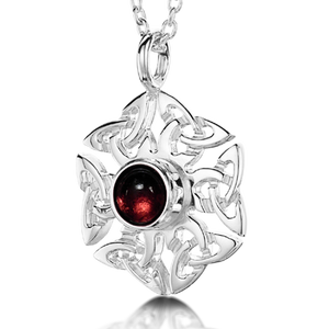 Celtic Knotwork Birthstone Pendant - January (Garnet)