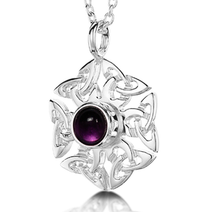 Celtic Knotwork Birthstone Pendant - February (Amethyst)