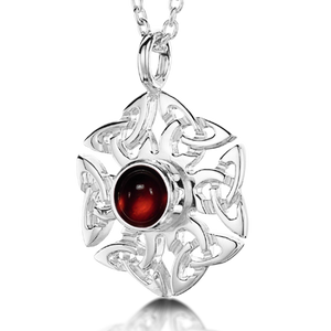 Celtic Knotwork Birthstone Pendant - July (Carnelian)