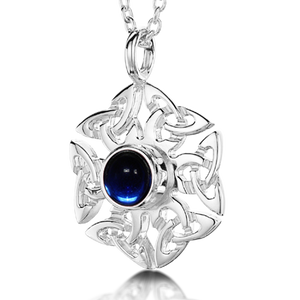 Celtic Knotwork Birthstone Pendant - September (Artificial Sapphire)