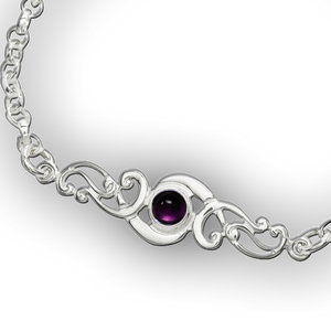 Scroll Birthstone Bracelet - February (Amethyst)