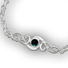 Scroll Birthstone Bracelet - May (Artificial Emerald)