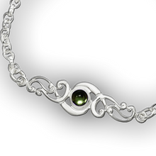 Scroll Birthstone Bracelet - August (Peridot)
