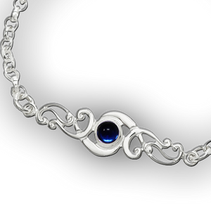 Scroll Birthstone Bracelet - September (Artificial Sapphire)