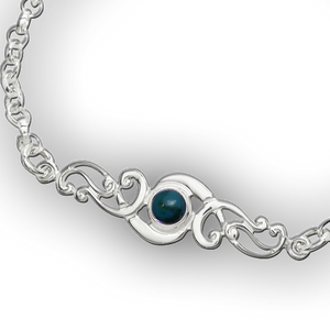 Scroll Birthstone Bracelet - December (Turquoise)