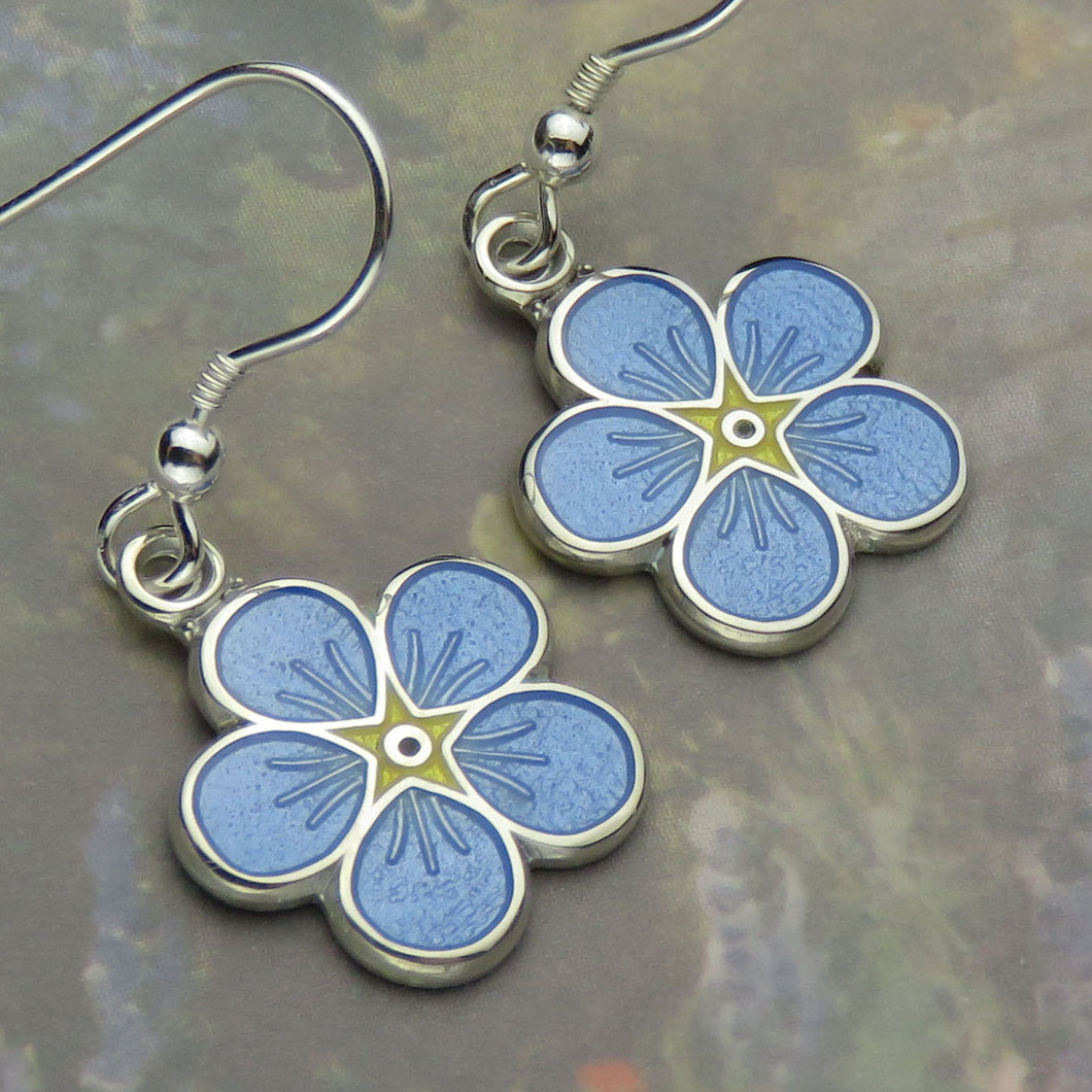 Forget-Me-Not enamel dangle earrings