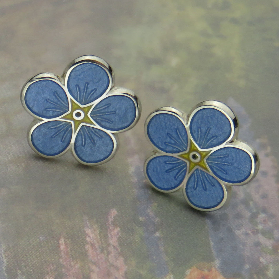 Forget-Me-Not enamel stud earrings