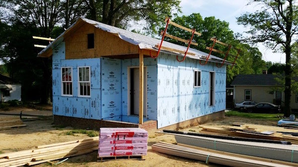 Exterior ready for Paneling: Habitat for Humanity's Tiny House project