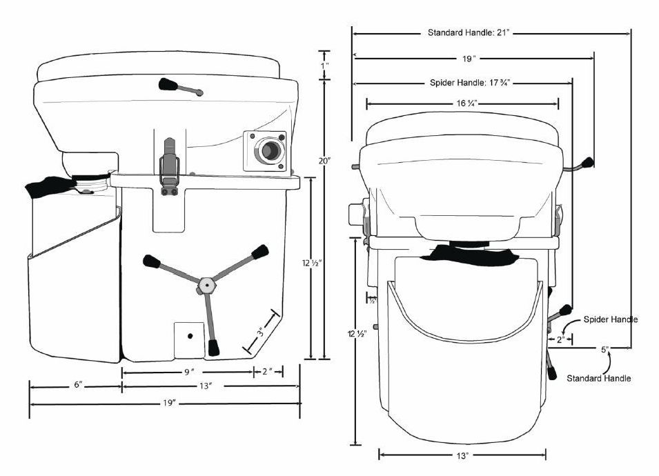 Nature's Head Dry Self-Contained Composting Toilet Dimensions