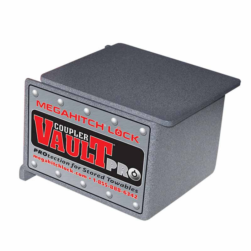 "MegaHitch Lock Vault Pro Trailer Security: Fits 2"" & 2-5/16"" 
