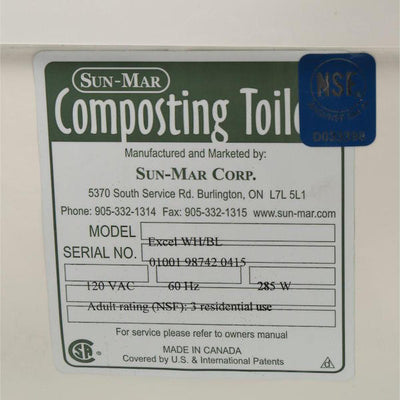 Sun-Mar EXCEL Composting Toilet - Certification Sticker