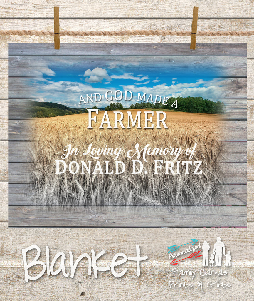 Personalized Fleece And God Made A Farmer Family Name Blanket