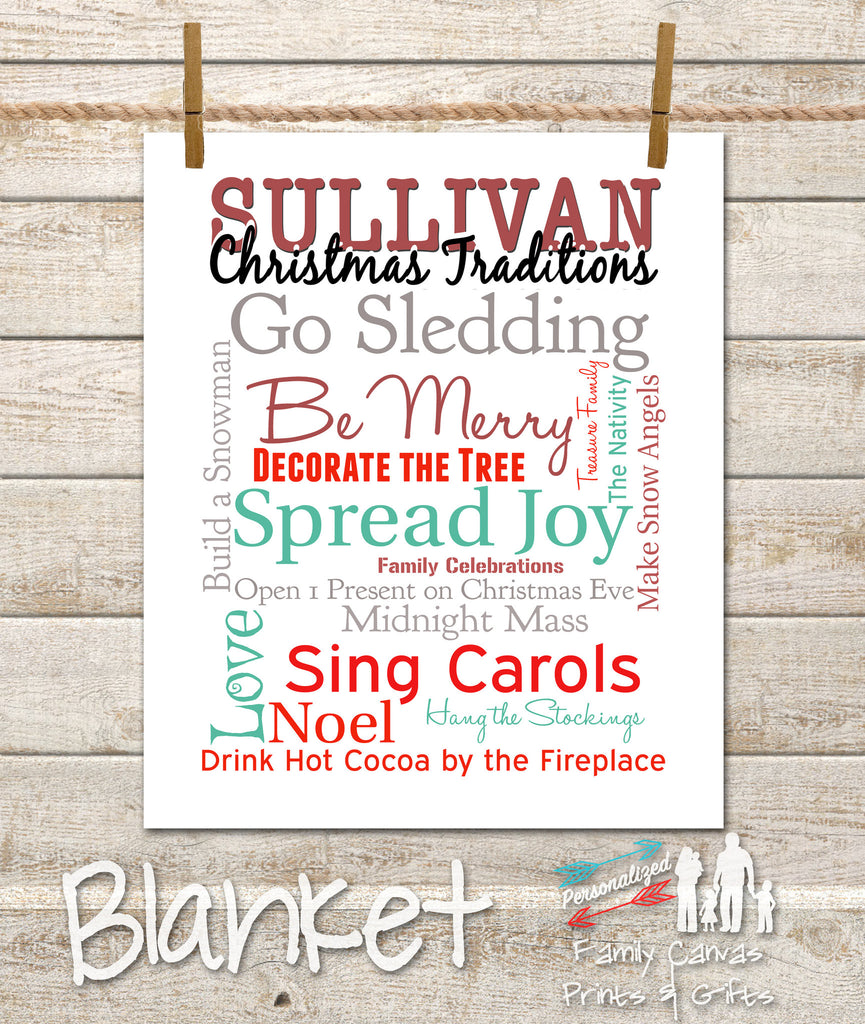 Personalized Fleece Holiday Traditions Christmas Blanket ...