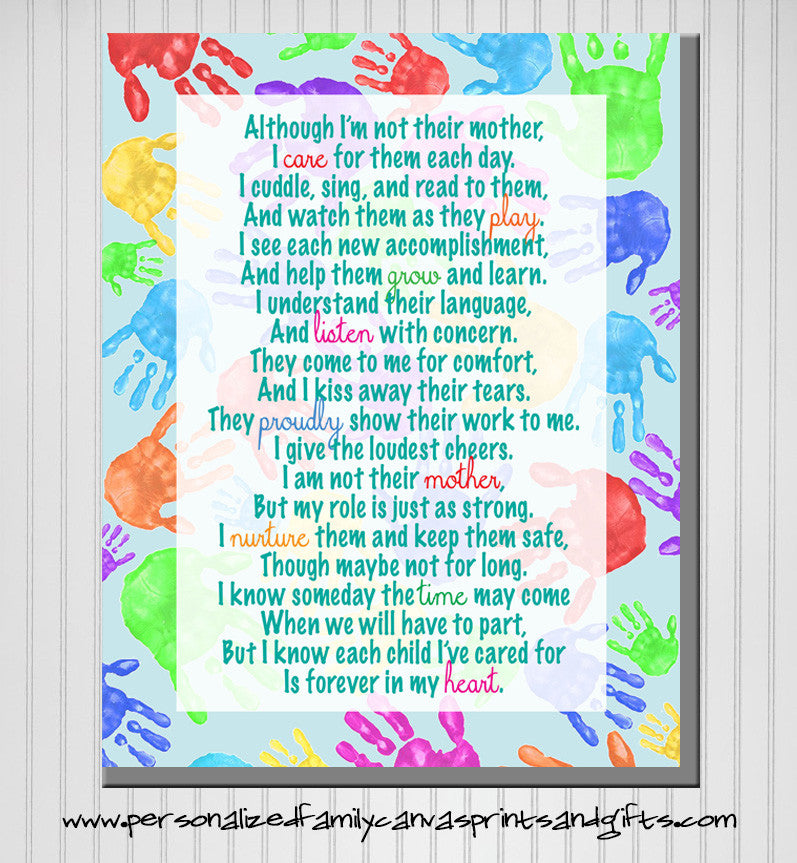personalized daycare provider poem print available in canvas or