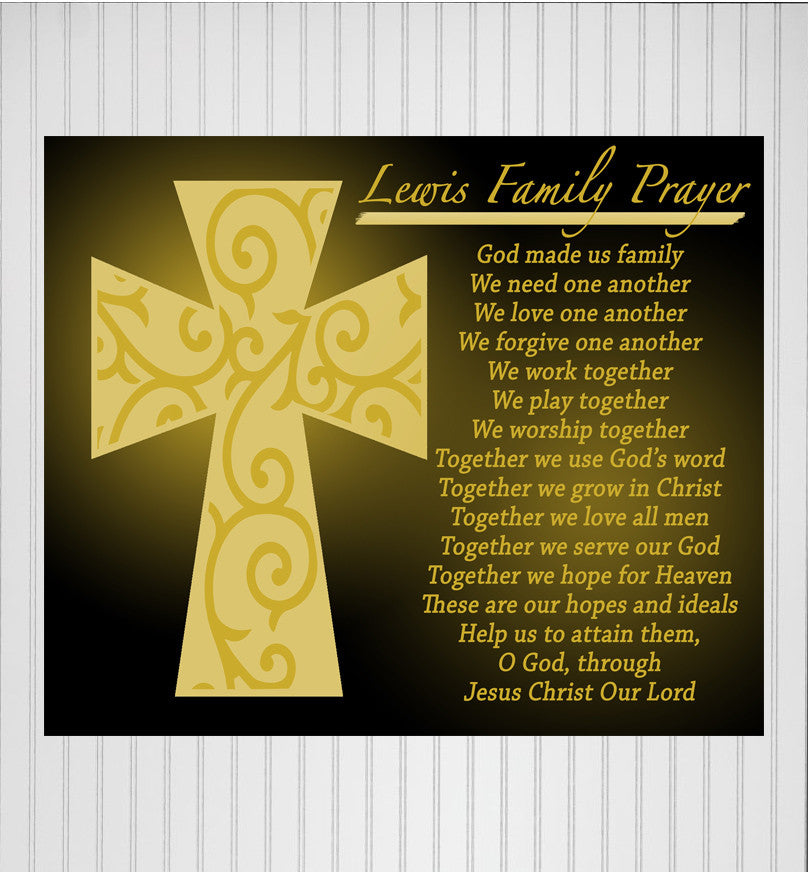 personalized family prayer print available in canvas or metal