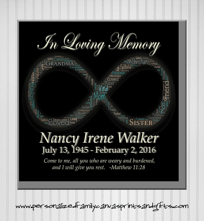 Personalized In Memory Infinity Symbol Word Art Print Available