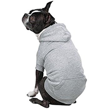 Fleece Lined Dog Sweatshirt Hoodie, Grey
