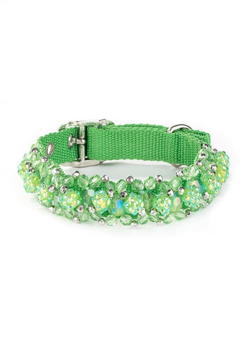 Beaded Dog Collars Fireball Collection - Green