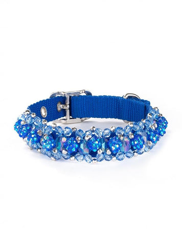 Beaded Dog Collars Fireball Collection - Sapphire