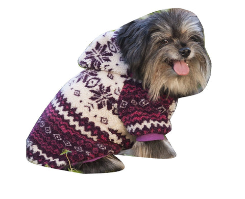 Sherpa Printed Dog Coat, Plum