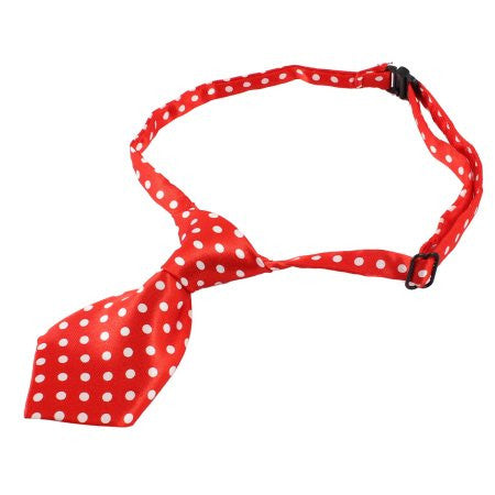 Swiss Dots Red Dog Neck Tie