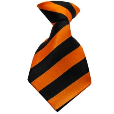 Striped Orange Dog Neck Tie