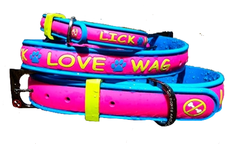No Bones About It - Lick Love Wag Dog Collars Pink Limeade
