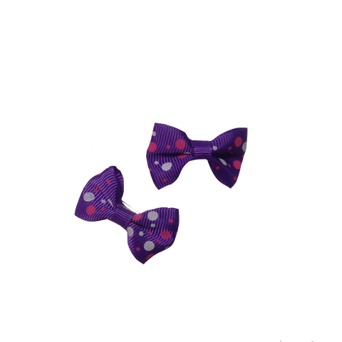 Purple Dots Bowknot Hair Bows