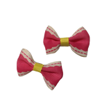 White Dashes on Pink Bowknot Hair Bows