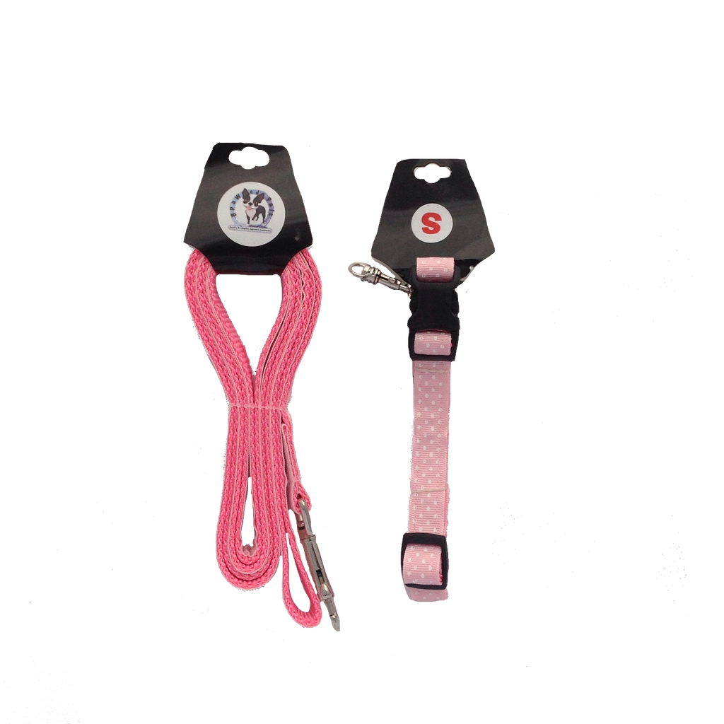 Pink Swiss Dots Adjustable Dog Collar & Leash Combo