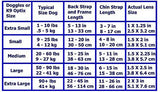 Doggles Sizing Chart Shiny Blue ILS Doggles with Blue Lens & Straps