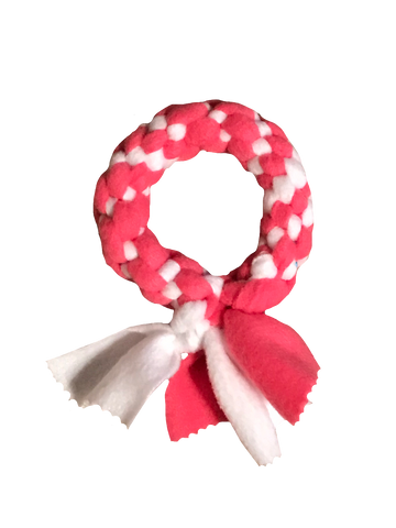 Ring Fleece Knotted Tug Dog Toy, Pink/White