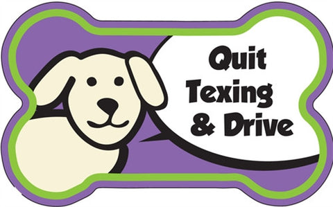 Quit Texting and Drive - Bone Shaped Magnet