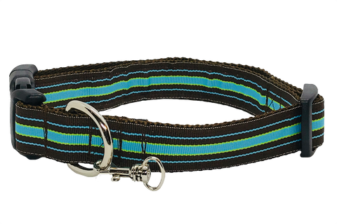Blue and Brown Stripe Adjustable Dog Collar