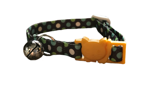 Breakaway Polka Dots Cat Collar, Gold