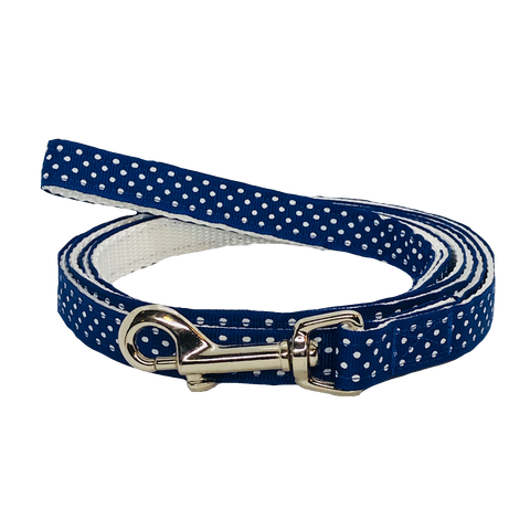 Blue and White Polka Dot Dog Leash