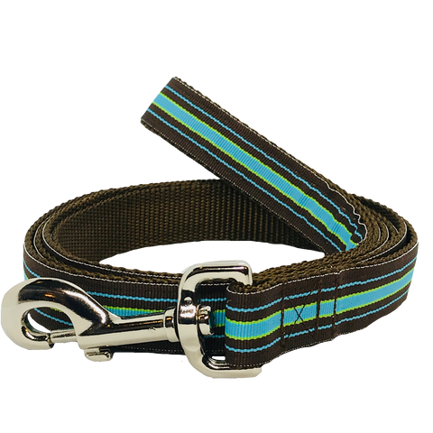 Blue and Brown Stripe Dog Leash