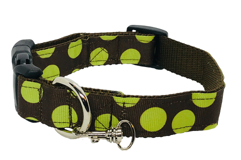 Brown/Green Polka Dots Adjustable Dog Collar