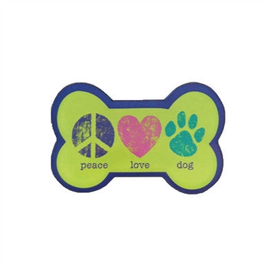 Peace Love Dog - Bone Shaped Acrylic Magnet