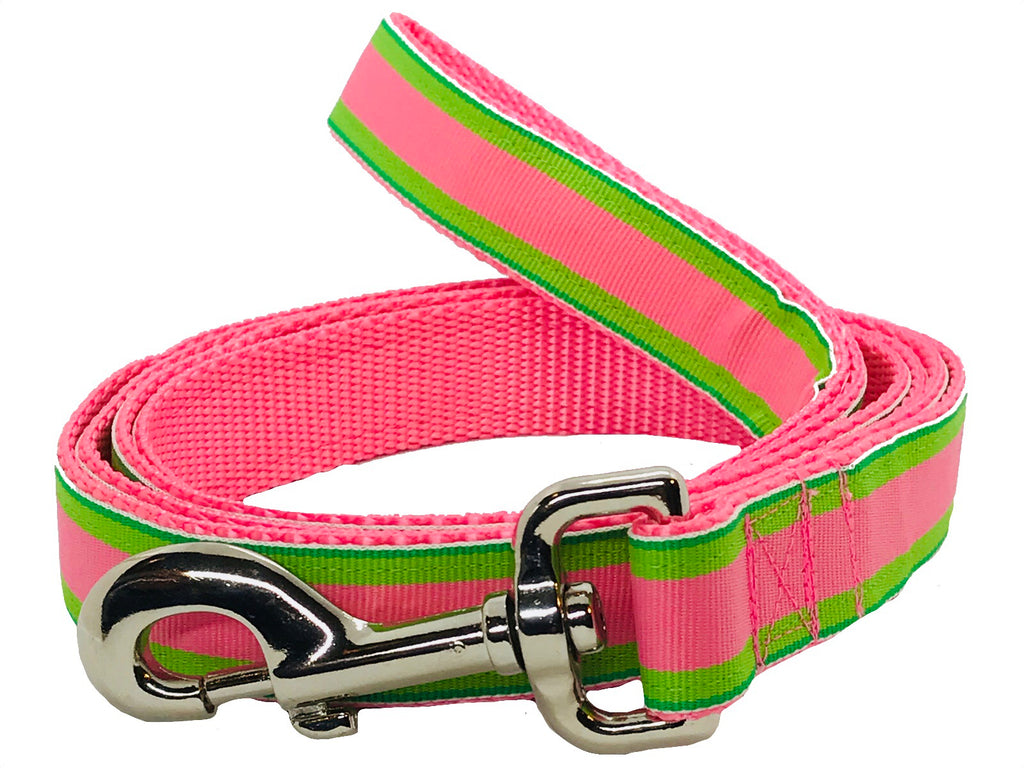 Pink and Green Stripe Dog Leash