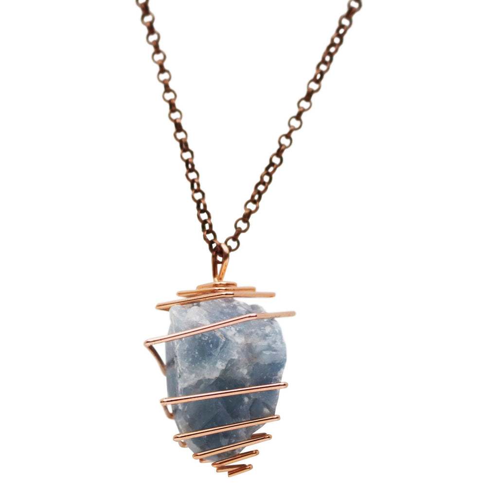 blue calcite crystal necklace � the crystal grid