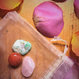 Fertility Crystal Bag with Rose Quartz and Chrysoprase