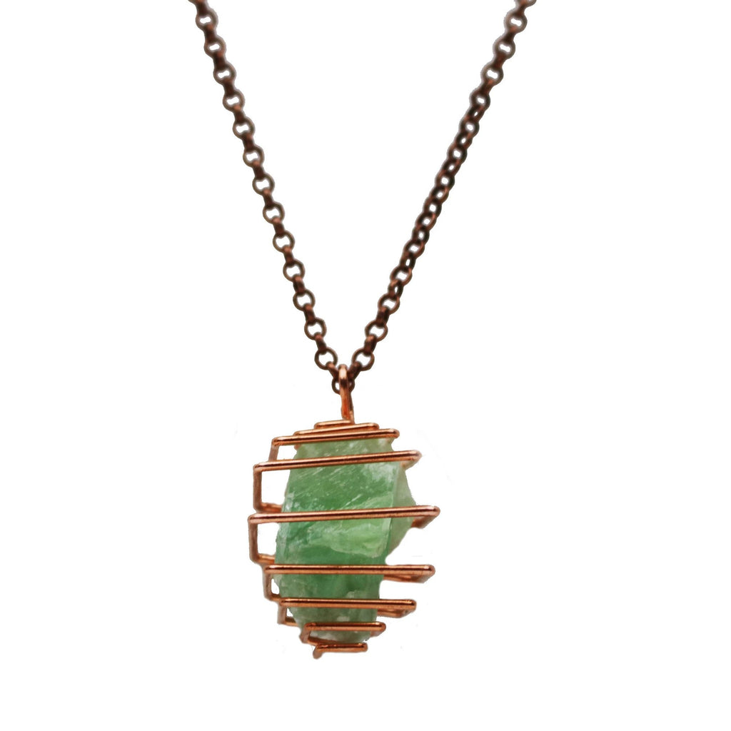 Green Calcite Crystal Necklace The Crystal Grid